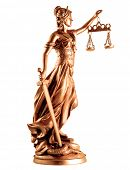 stock photo of metal sculpture  - Lady of Justice on white background - JPG
