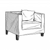 Sketch Armchair Isolated On White Background. Vector Illustration In Sketch Style. poster