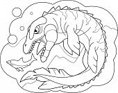 Cartoon Prehistoric Dinosaur Mosasaurus Coloring Book Funny Illustration poster
