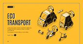 Eco Transport Isometric Landing Page, Electric Car, Bicycle, Hoverboard, Bike, Scooter And Skateboar poster