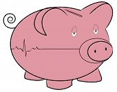 foto of flatline  - piggy bank with flatline heart rhythm  - JPG
