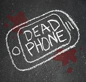 A chalk outline of a dead phone on pavement with blood around it, symbolizing a smart cell phone tha