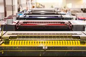 top view of an offset sheetfed printing maschine in a printing facility poster