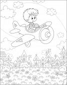 Little Boy Piloting His Small Toy Plane Among Clouds In Summer Sky Over A Park Near Cute Houses Of A poster