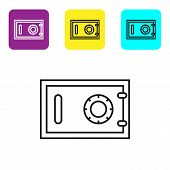 Black Line Safe Icon Isolated On White Background. The Door Safe A Bank Vault With A Combination Loc poster
