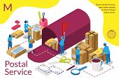 Distribution, Postal Service Infographic. International Delivery. Home Delivery Service And Working  poster