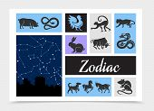 Vintage Chinese Zodiac Signs Composition With Celestial Star Map Rat Ox Tiger Dragon Snake Horse Mon poster