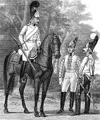 Officer and a Guardsman at the time of Emperor Paul I (1797). Engraving by  Shyubler. Published in m