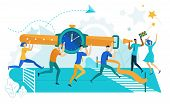 Time Management Concept Flat Cartoon Vector Illustration. Business People Carrying Watch To Finish L poster