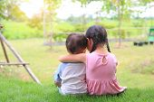 Older Sister Hugs Little Brother By The Neck, Shoulders Sitting On Green Grass Field. Two Adorable A poster