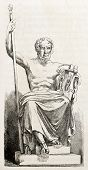 Homer statue, old illustration. After sculpture of Chevalier, published on L'Illustration, Journal U