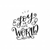 Curly Script Joy Of The World With Decorative Strokes. Positive And Upbeat Lettering Handwriting Wit poster