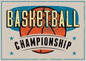 Basketball Championship Typographical Vintage Grunge Style Poster. Retro Vector Illustration. poster