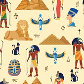Egyptian Ancient Gods, Religious Symbols And Pyramides Seamless Pattern Cartoon Vector Illustration. poster