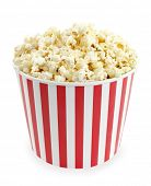 picture of popcorn  - Popcorn in red and white cardboard box for cinema - JPG