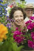 pic of early 60s  - Senior Couple Surrounded by Flowers - JPG