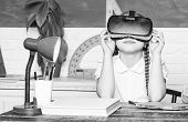 Studying In Virtual Reality. Modern Technology. Interesting Lesson. Virtual Teaching. Homeschooling  poster