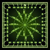 Glowing in the Dark Green Navigation Grid with Direct and Reverse Course Designation. Rasterized ver