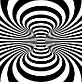 stock photo of psychodelic  - Black and white stripes projection on torus - JPG