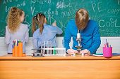 Little Kids Learning Chemistry In Lab. Chemistry Equipment. Happy Children. Chemistry Lesson. Chemis poster