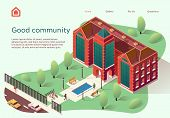 Flyer Is Written Good Community Cartoon Flat. Large Modern Building For Student Needs. Communication poster