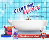 Cleaning Service. Means For Cleaning Apartment. Clean House. Set Cleaning Tools. Vector Illustration poster