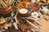 Candle With Berries, Fall Leaves, Anise,herbs, Acorns, Nuts, Cinnamon, Cotton On Brown Blanket. Hygg poster