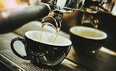 Espresso Machine Brewing A Coffee. Coffee Pouring Into Glasses In Coffee Shop, Espresso Pouring From poster