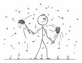 Vector Cartoon Stick Figure Drawing Conceptual Illustration Of Man Or Businessman With Swatters, Fla poster
