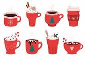 Christmas Holiday Coffee Mug. Cocoa With Marshmallows, Winter Warming Drinks And Hot Espresso Cup. X poster