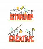 Cartoon Working Little People With Word Startup And Creative. Doodle Cute Miniature Scene Of Workers poster
