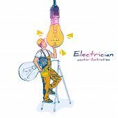 Change Lamp. Replacing The Light Bulb. Electrician Changes The Broken Lamp. Vector Illustration Sket poster