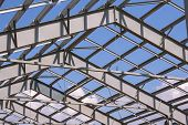 Steel Structure Of Building Construction On Sky Background poster