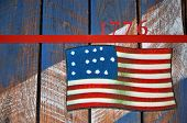 Artistic Rendering Of The United States First Flag In 1776 Displayed At Fort Mcallister State Histor poster
