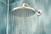 stock photo of water jet  - Head shower while running water - JPG
