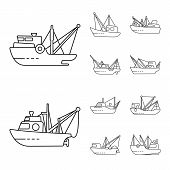 Vector Design Of Commercial And Vessel Icon. Set Of Commercial And Speedboat Stock Vector Illustrati poster
