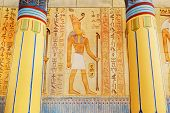 Ancient Egypt Scene. Hieroglyphic Carvings On The Exterior Walls Of An Ancient Egyptian Temple. poster