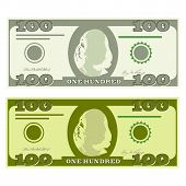 Illustration Of Money Icons. Dollar Currency Banknote Green. Dollars Bill, Money Banknote. Dollar Bi poster