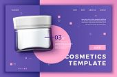 Vector 3d Realistic Cosmetic Glass Jar On Bright Modern Site Template With Typographic Background. M poster