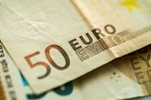 Closeup Euro Money Banknotes, Euro Currency, Macro Details of Fifty Euro Banknote, Cash, Bill Concep poster