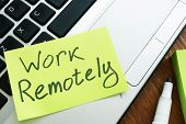 Work Remotely Memo Stick. Laptop For Remote Job. poster