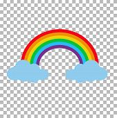 Rainbow With Clouds Isolated On Transparent Background. Cartoon Rainbow Between Clouds. Set Rainbow  poster