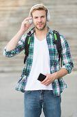 College Education. College Life. College Student Headphones Smartphone. Listen Music. Audio Book. Mo poster