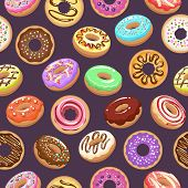 Cartoon Donut Background. Assorted Donuts Food Seamless Pattern, Colour Ring Donutes With Sugar Spri poster