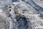 Large Quarry With Many Horizons And Ledges. Coal Mining With A Hydraulic Excavator. Joint Work Of He poster
