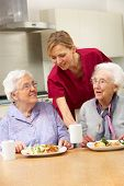 stock photo of independent woman  - Senior women with carer enjoying meal at home - JPG