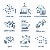 Student Loans Icon Set - Academic Scholarships And Debt Imagery poster