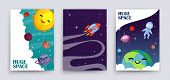 Space Flyers Vector. Cartoon Planets, Universe, Galaxy Banners Template. Cute Sun, Astronaut, Earth, poster