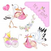 Set Of Illustrations For The Birth Of A Girl. Stork With Baby. Baby Shower. Vector poster