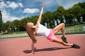 She Is Healthy And Muscular. Muscular Woman Training On Summer Day. Athletic Girl Doing Exercise On  poster